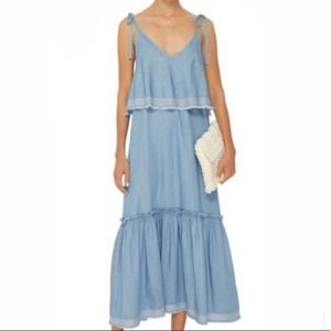 Suboo outlaw chambray tiered maxi dress